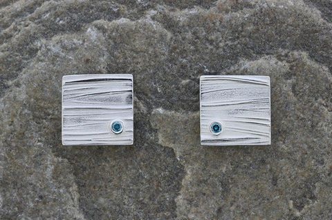 Deeside Square Earrings with Blue Diamond