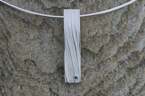 Deeside Rectangular Pendant with Blue Diamond