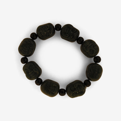 Jade Laughing Buddha - Elasticated Wrist Mala