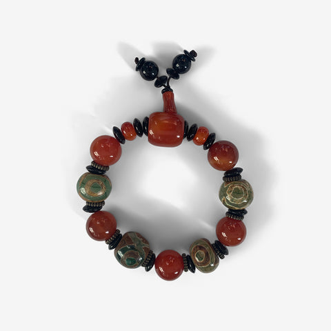Fire Agate with Green Stone  -  Endocrine Wrist Mala