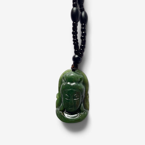 Buddha Mind  – Dark Green Jade Amulet
