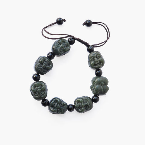 Dark Green Jade Laughing Buddha Wrist Mala