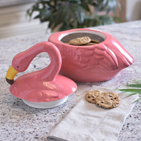 Ceramic Pink Flamingo Cookie Jar