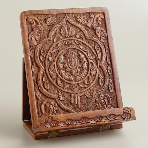 Hand-Carved Wooden Tablet Holder - Holt Bros. Mercantile  - 1