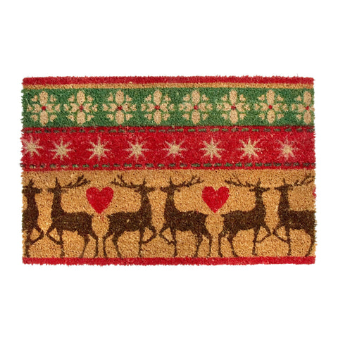 Reindeer Fair Isle Coir Door Mat - Holt Bros. Mercantile