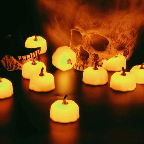Pumpkin Flameless LED Tea Lights Set