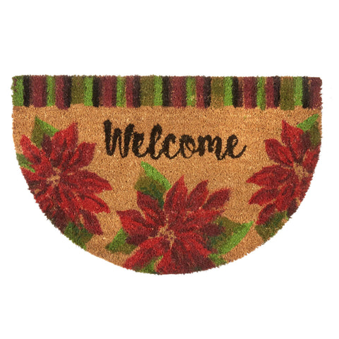 """Welcome"" Poinsettia Coir Door Mat - Holt Bros. Mercantile"