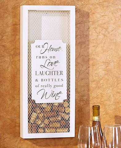 Wall Hanging Wine Cork Collector: Love & Laughter - Holt Bros. Mercantile