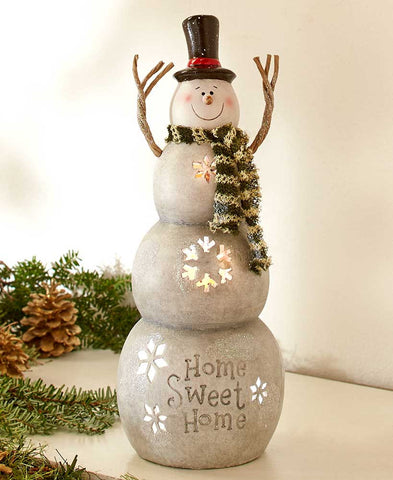 Country Home Sweet Home Lighted Snowman - Holt Bros. Mercantile