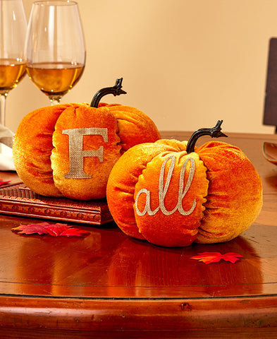 """Fall"" Velvet Harvest Pumpkins Set - Holt Bros. Mercantile"