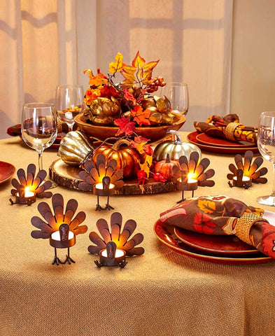 Turkey Tea Light Candleholders Set