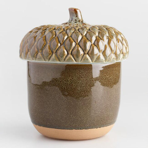 Green Reactive Glaze Acorn Cookie Jar