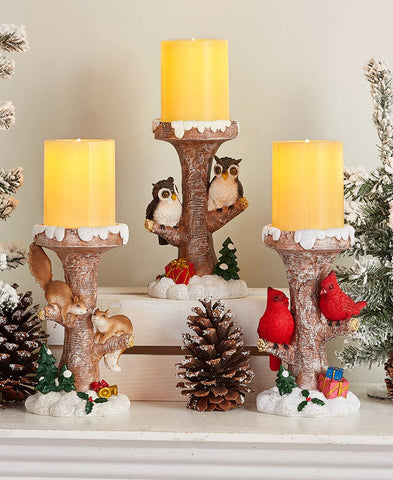Woodland Critters Tree Branch Led Candle Holder Set