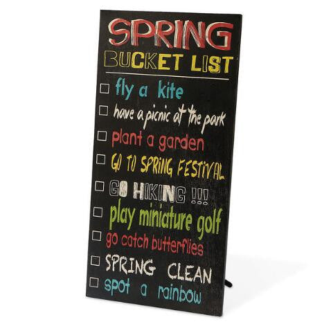 """Spring Bucket List"" Wall Sign"