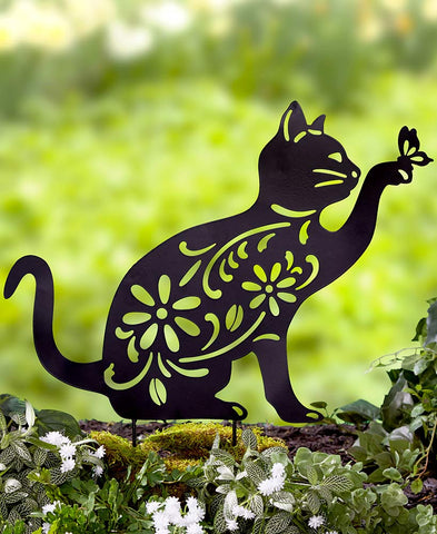 Cat Silhouette Garden Stake