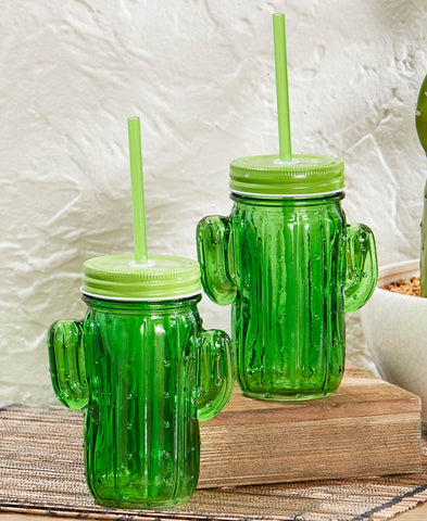 Deluxe Duo-Toned Cactus Glass Mason Jar Sipper Set