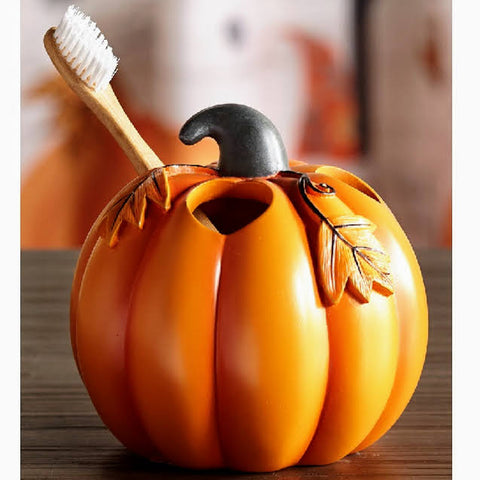 Ceramic Pumpkin Toothbrush Holder
