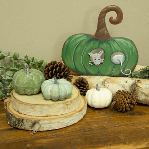 Green Pumpkin with Mice