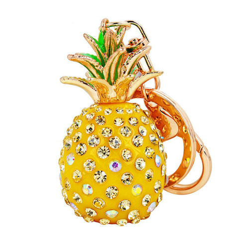 Jeweled Pineapple Key Ring Handbag Charm