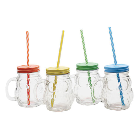 Owl Mason Jar Handled Glass Mugs