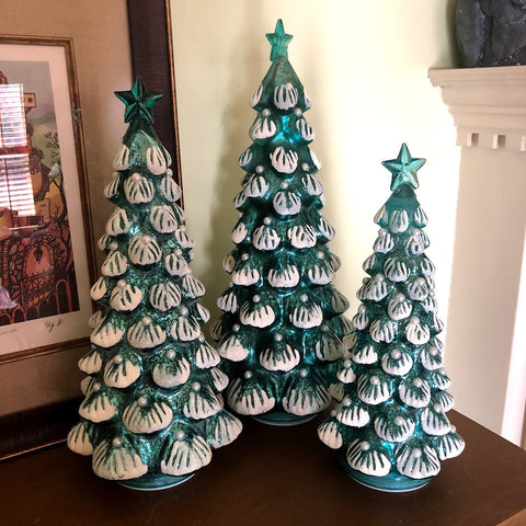Woodland Spruce Lighted Mercury Glass Christmas Trees Set