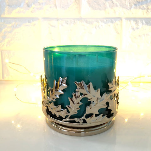 Gilded Holly Candle Holder