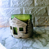 Faux Birch Bark Cabin Life Candle Sleeve Holder