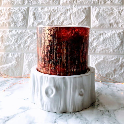 Winter Faux Bois Stump Candle Holder