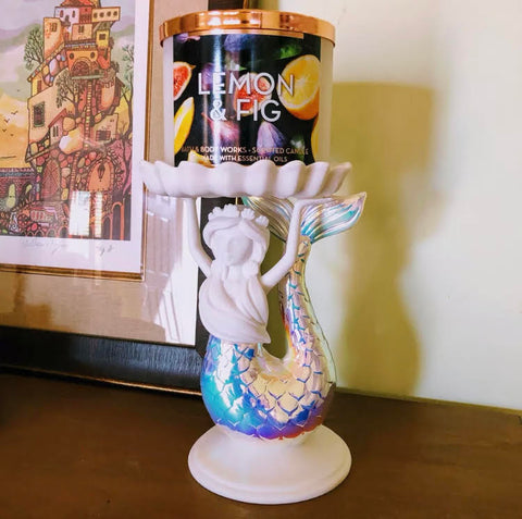 Iridescent Mermaid Pedestal Candle Holder