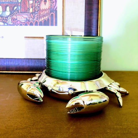 Coastal Crab Silver Candle Holder