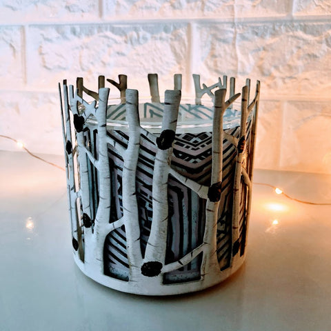 Winter Birch Grove Candle Holder