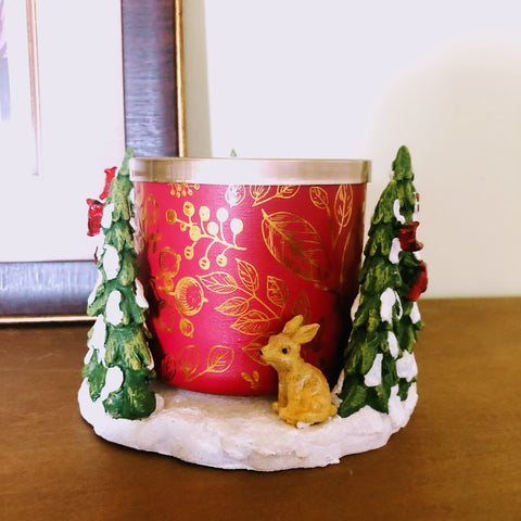 Snowy Forest & Friends Candle Holder