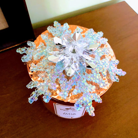 Shimmering Blue Snowflake Candle Topper