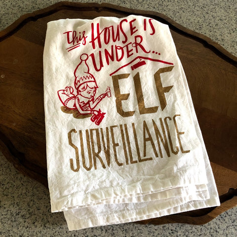 Elf Surveillance Tea Towel