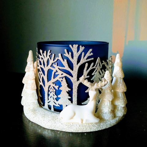 Glittery Winter Woodland Candle Holder