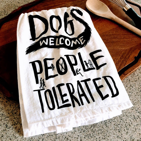 Dogs Welcome Tea Towel
