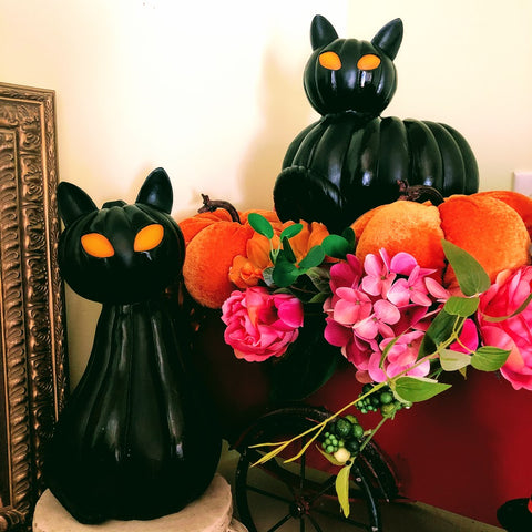 Spooky Black Lighted Pumpkin Cats