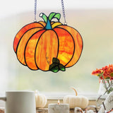 Harvest Pumpkin Stained Glass Window Panel