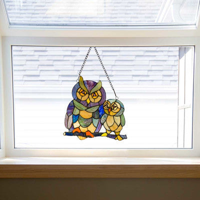 Stained Glass Window Panel - Friendly Owls - Holt Bros. Mercantile  - 1