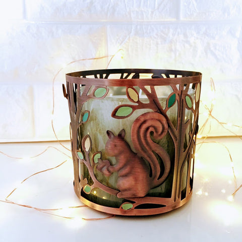 Woodland Squirrel Candle Holder Sleeve