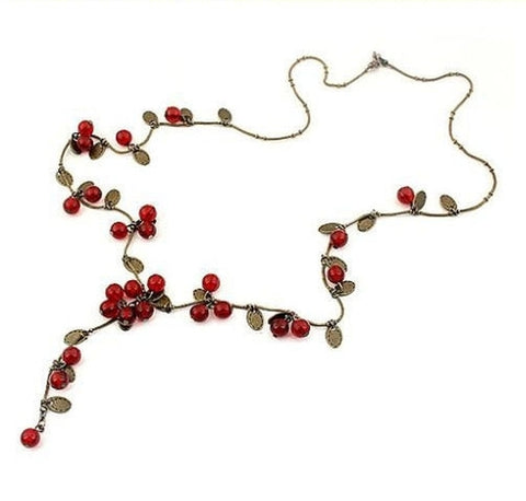 """Japanese Cherries"" Sweater Chain Necklace - Holt Bros. Mercantile  - 1"