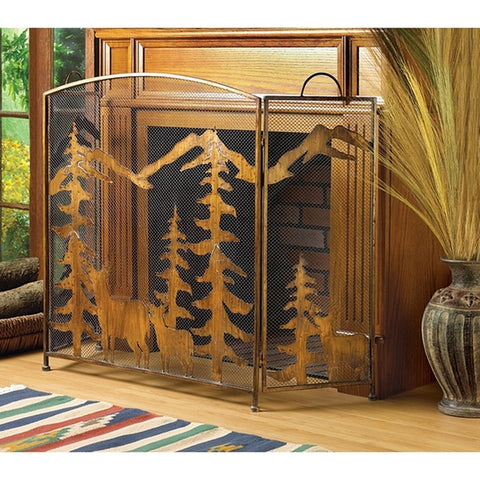 Wrought-Iron Rustic Woodland Fireplace Screen - Holt Bros. Mercantile  - 1