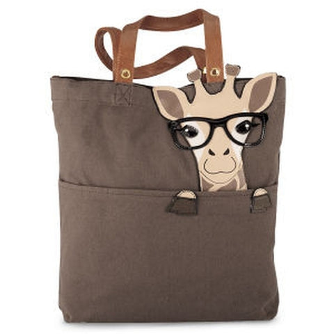 Nerdy Giraffe Canvas Tote Bag - Holt Bros. Mercantile