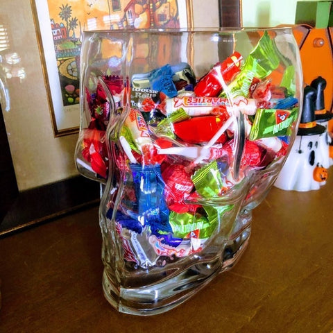Glass Skull Halloween Candy Bowl