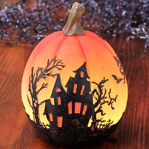 Color-Changing Halloween Scene Pumpkin