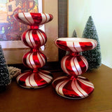 Colored Glass Peppermint Swirl Candle Holders