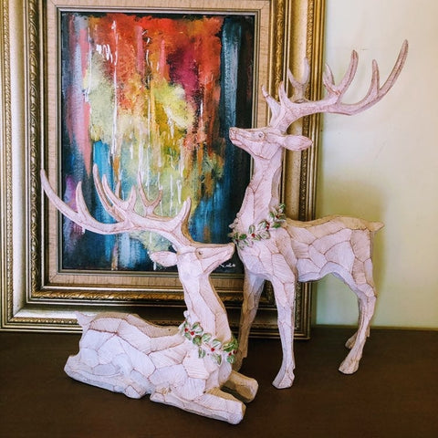 Craftsman Carved Winter Woodland Deer