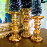Colorful Graduated Mercury Glass Pedestals Trio