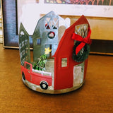 Country Christmas Farmhouse Candle Holder