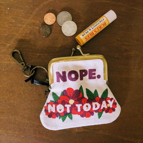 Nope Not Today Canvas Coin Purse